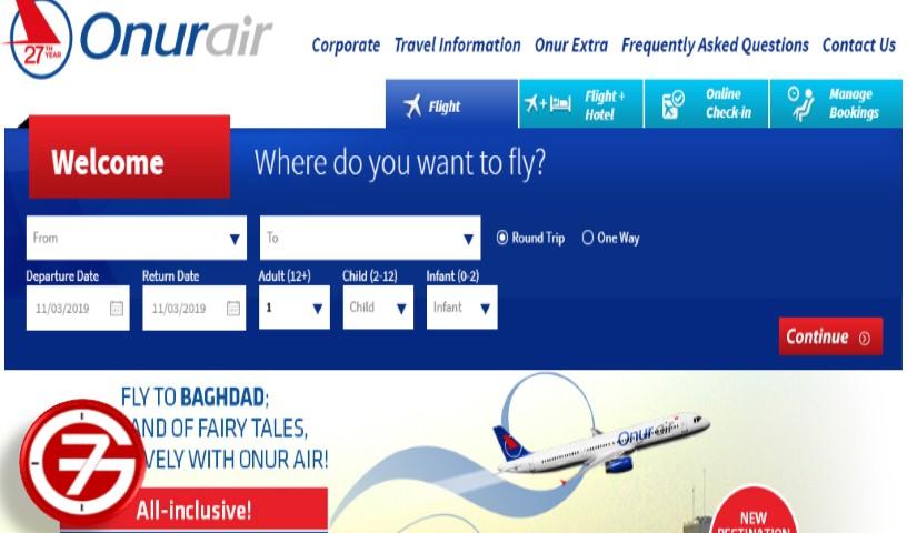حجز طيران بأرخص سعر ومثال طريقة حجز Onurair 1
