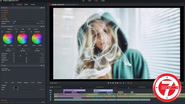 1- برنامج تعديل الفيديو المجاني Lightworks
