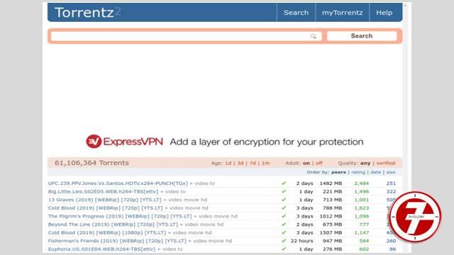 الموقع الرابع: موقع Torrentz 2 لتحميل ملفات التورنت