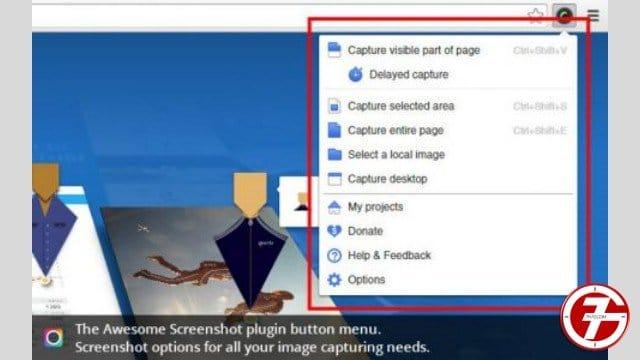 إضافة Awesome Screenshot لإلتقاط جزء من شاشة المتصفح