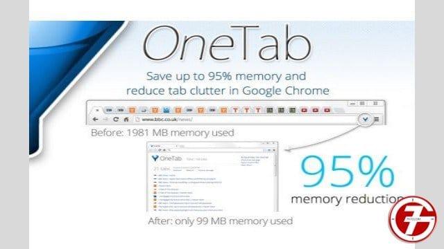 15- إضافة OneTab لتجميع كل تبويبات التصفح في مكان واحد