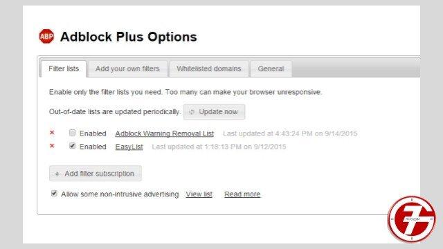 9- إضافة Adblock لحجب الاعلانات المزعجة